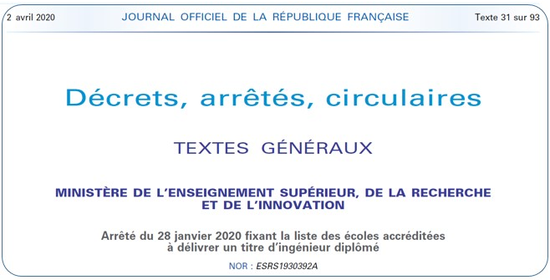 Publication au Journal Officiel le jeudi 2 avril 2020